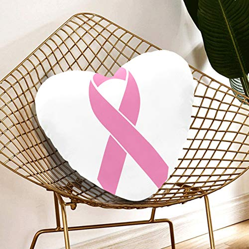 Almohadas en forma de corazón Conciencia del cáncer de mama Diseño plano de la cinta rosada Decoración de la sala de estar Almohadas 13.78 X 13.78 pulgadas Cojín en forma de corazón Regalo para amigo