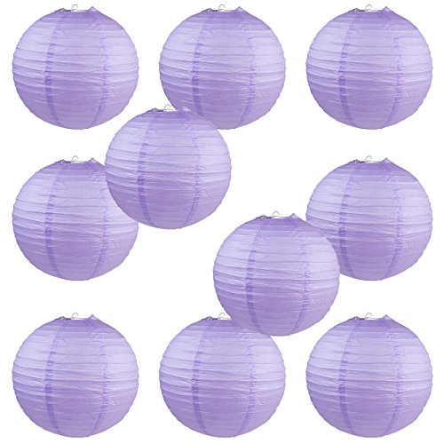 "WYZworks Round Paper Lanterns 10 Pack (Lavender, 8"") - with 8"", 10"", 12"", 14"", 16"" option"