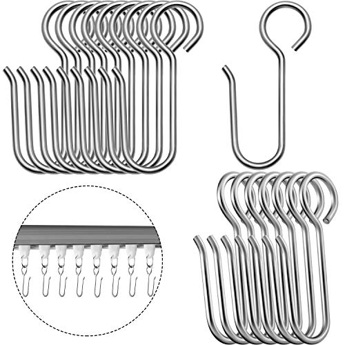 120 Pieces Curtain Track Hooks Metal Curtain Hooks Drapes Curtain Wire Hooks Stainless Steel Small S Hooks for Ceiling Track