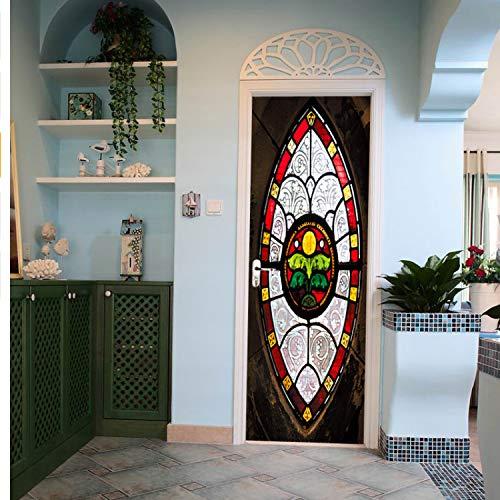 lili-nice Style Musulman Bricolage par Art Mural 3D Autocollant Autocollant Autocollant PVC Porte en Bois Stickers Muraux Décor À La Maison 2Pcs / Set 77 * 200Cm