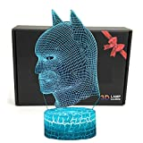 LED Superhero 3D Optical Illusion Smart 7 Colors Night Light Table Lamp with USB Power Cable (Batman)