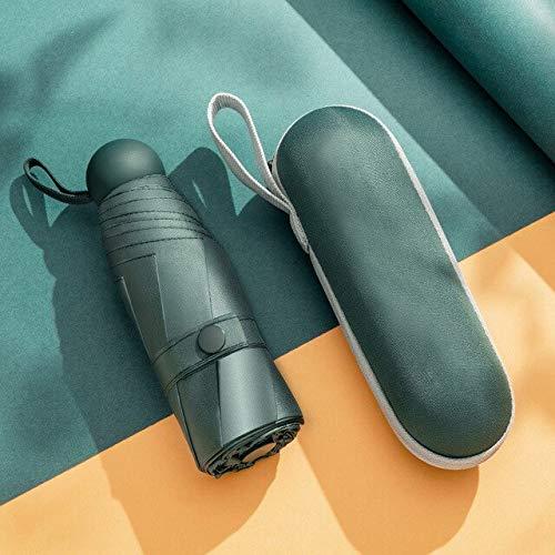 Mini-Kapsel-Regenschirm, winddicht, fünffacher Sonnenschutz, UV-Schutz, LSF 50+, Regenschirm für Damen, faltbar, Grün