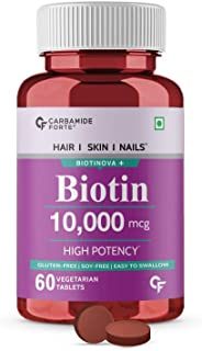 Carbamide Forte High Potency Biotin tablets 10000mcg for Hair Growth – 60 Veg Tablets