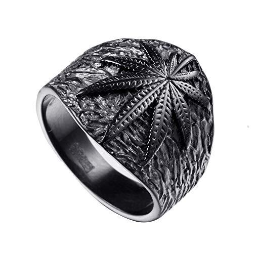VDSON Simple Men's Titanium Steel Plating Maple Leaf Punk Creative Personality Ring Vintage Ring (Color : Black, Size : 11)