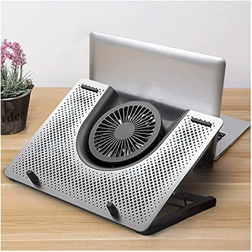 HEZHANG Ventilador de refrigeración para ordenador portátil, refrigeración rápida, 5 ventiladores, entusiasta de computadora para hogar, escuela, oficina, plateado