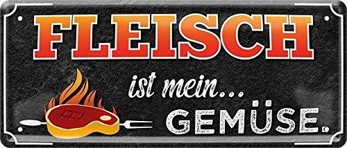 Fleisch ist Mein Gemüse Steak vom Grill 28 x 12 cm Deko Blechschild 1578