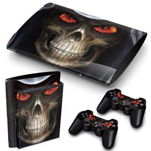 Funky Planet PS3 Super Slim Playstation Pegatinas de PVC para la Consola + 2 Controladores Decal Protector Arte [Sony_playstation3] (Skull Red Eyes)