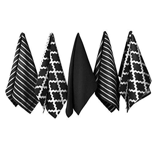Penguin Home 3301 Juego de 5 Toallas de Té de Algodón 100% -Suave-Duradero-Diseño Elegante En Negro con Múltiples Patrones-Lavable A Máquina-65 X 45 Cm, Paquete De 5, 5 Pack