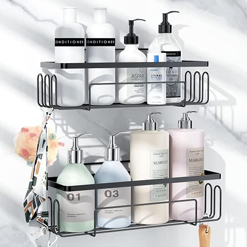 WEKSI Shower Caddy Bathroom Shelf, 2 Pack Adhesive Bathroom Storage Organizer Rustproof Basket with Hooks, No Drilling - Shower Caddy Rack Hanging Wall Mounted for Bathroom Shower Kitchen - Black