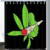 Marihuana Leaf Weed Duschvorhang Weed Plant Bohemian Flower Rose Flower Rauchen Psychedelic Colourful Abstract Funny Badezimmer Vorhang Set mit 12 Haken B180cmxH180cm
