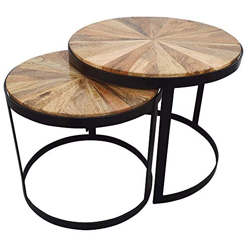 Indoortrend.com Beistelltisch runder Couchtisch 2er Set - Wohnzimmertisch in braun - moderner Satztisch aus massiv Holz - Beistelltische mit 55 cm und 45 cm Durchmesser - Tisch Gestell Metall Schwarz