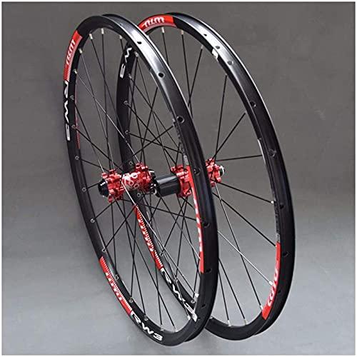 TYXTYX Juego de Ruedas MTB para Bicicleta de montaña 26 27,5 29 pulg, Llanta de aleación de Doble Capa, rodamiento Sellado, 7-11 velocidades, buje de Cassette, Freno de Disco QR 24 H, buje Rojo, 2
