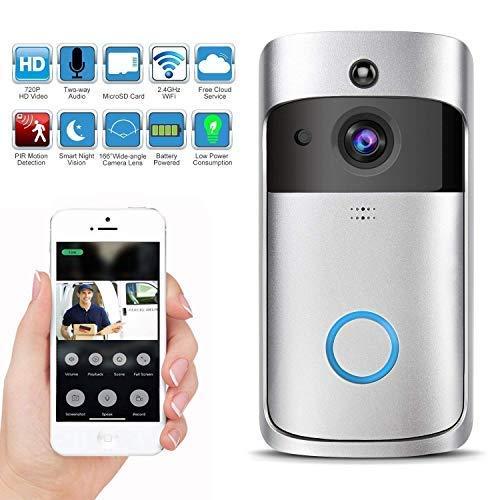 KuDiff Video Türsprechanlage, WLAN Türklingel mit Kamera, 720p Video Gegensprechanlage mit Echtzeit-Video,Zwei-Wege-Audio, Nachtsicht, PIR-Bewegungserkennung und App-Steuerung für iOS Android