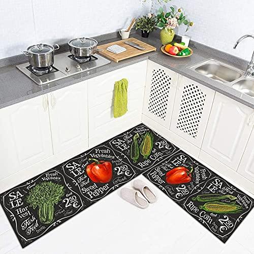 Alfombrilla Antideslizante para Cocina con Estampado de Frutas en 3D, Alfombra geométrica Moderna para la Puerta del Dormitorio de la Sala de Estar, Alfombra Lavable para baño A3 40x120cm
