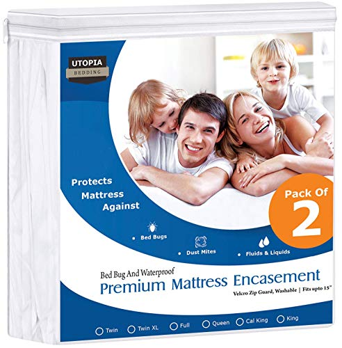 Utopia Bedding Premium 135 GSM Waterproof Mattress Encasement, 360° Protection, Zippered, Bed Bug Proof, Fits 15 Inches Deep, Easy Care (Pack of 2, Queen)
