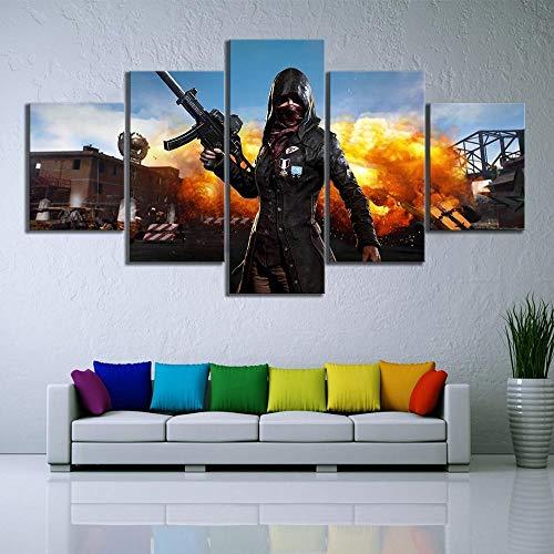 Speedcoming 5 Stück Pubg Playerunknowns Schlachtfelder Mädchen Trenchcoat Explosion Spiel Poster HD Wandbilder für Home Decor Wandkunst - 40x60cm 40x80cm 40x100cm