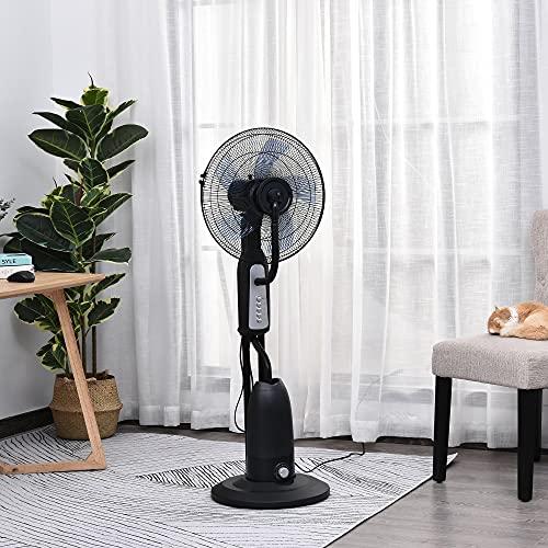 HOMCOM Ventilador Nebulizador 90W de Pie Oscilante y Silencioso con 3 Velocidad y 5 Aspas Ruedas...