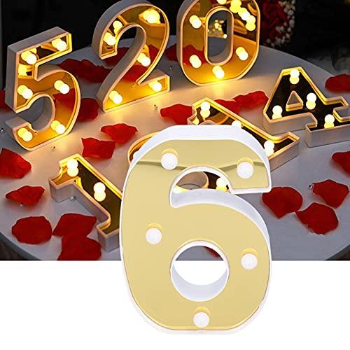 XQAQX Luz LED, luz numérica, luz Decorativa, lámpara de señal número 6 Dorada Luz Decorativa LED para Boda, Fiesta de cumpleaños, decoración navideña, Blanco cálido