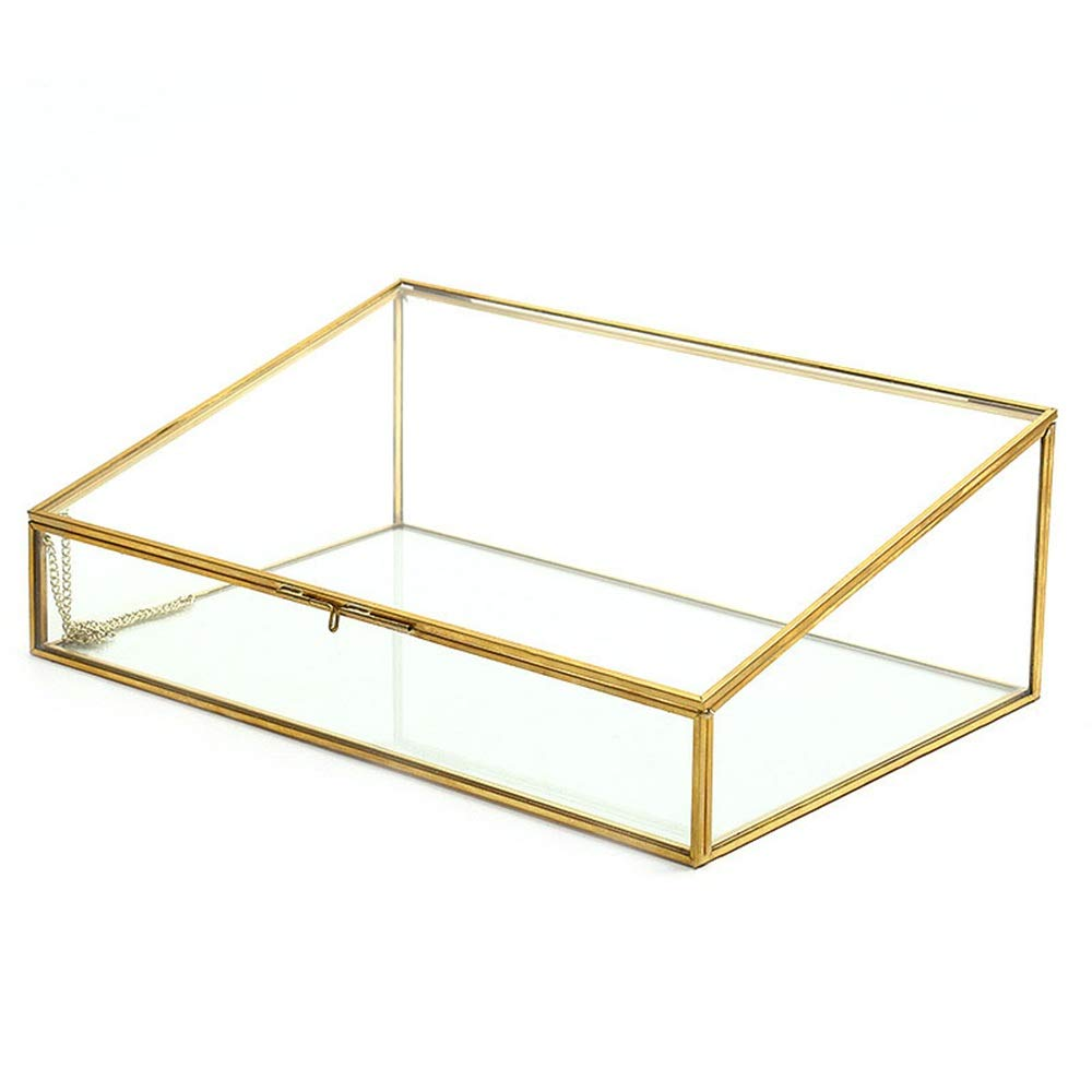 Stand de joyería Caja decorativa decorativa para el hogar de latón dorado y vidrio transparente Decoración para el hogar Caja de joyería Organizador Pendiente collar titulares organizador: Amazon.es: Hogar