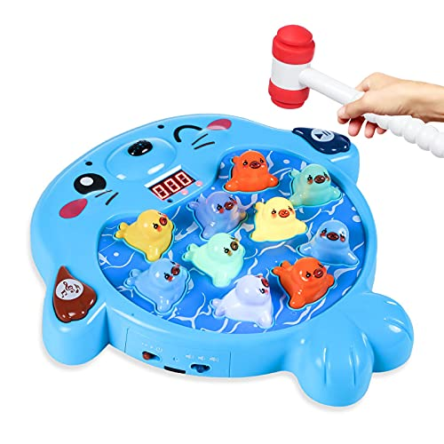 SZJJX Interactive Whack A Mole Game, Seal Hammering Pounding Toy, Toddler Games, Kids Early Developmental Learning Toys…