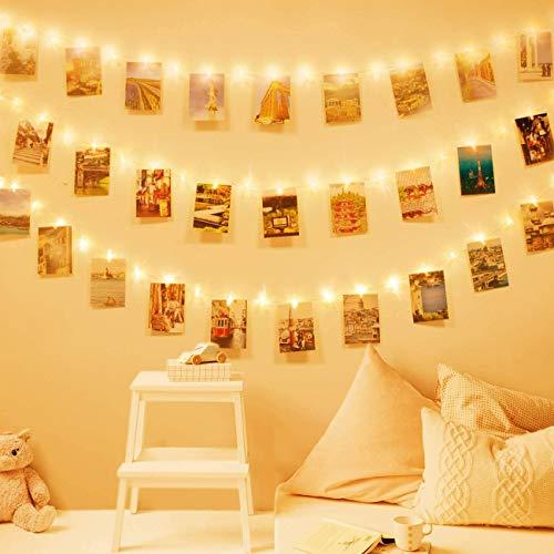 Ghirlanda di luci LED con mollette per appendere foto –40mollettine per foto, decorazione lunga 5m alimentata a batterie