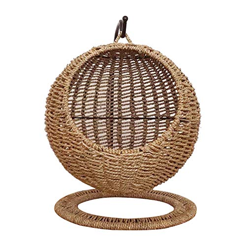 Retyion Wicker Cat Bed Basket Swinging Pet House Nest for Small Dog Cat