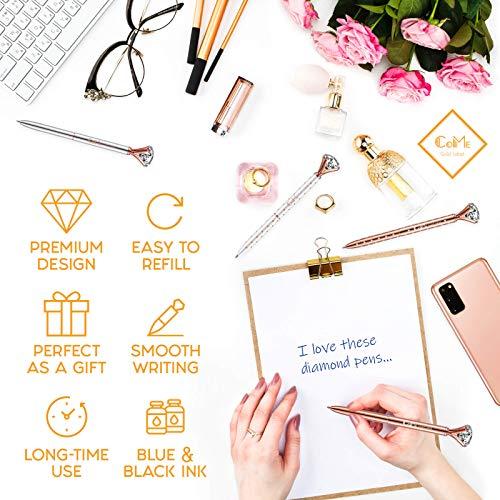 4 PCS Color Diamond Pens Rose Gold - 4 Velvet Bags, 8 Ink Refills Black & Blue, Gift Pen Set for Writing - Fancy Pens for Girls, Crystal Jewel Cute Pens for Women, Girly Ballpoint Pen with Diamond Top Photo #7