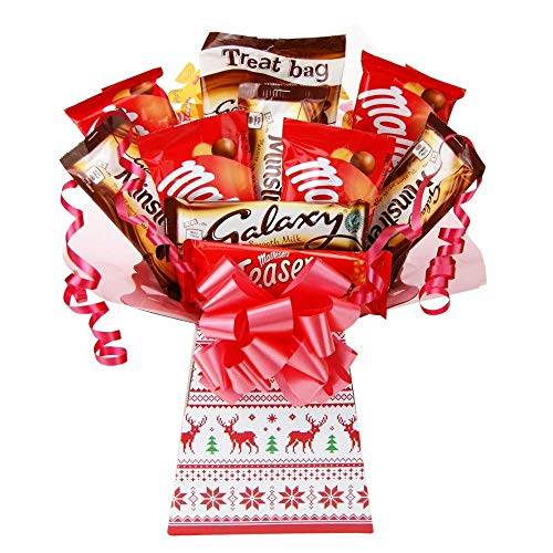 Galaxy & Maltesers Chocolate Bouquet Christmas Gift – Chocolate Lovers Luxury Xmas Gifts Hamper – The Best Variety of Christmas Treats The Perfect Gift idea by Chocoholic Bouquet (Knit)