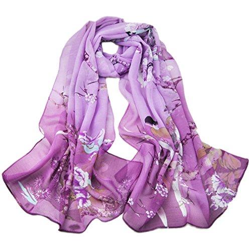 KAVINGKALY Femmes Fleurs Foulards Oiseaux Mode Foulard Mousseline De Soie Imprimé Echarpes Polka Dot (Violet)