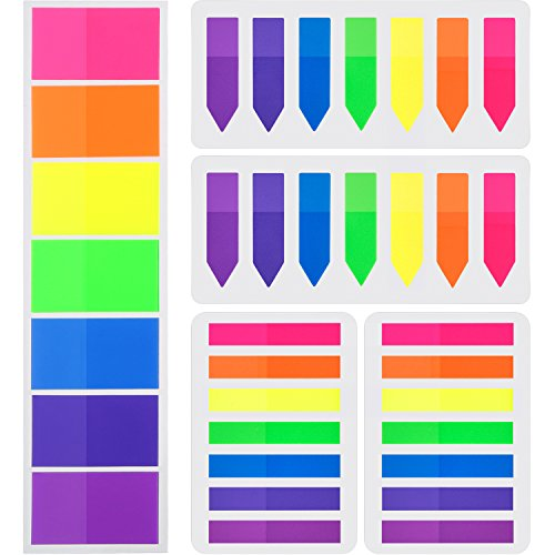 700 Pieces Flags Index Tabs 3 Sizes Sticky Notes Writable Labels Page Marker Bookmarks Text Highlighter Strips, 7 Colors, 5 Set