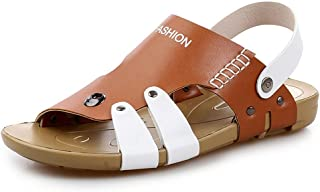 HongJie Hou Summer Casual Beach Sandals for Men Microfiber Leather Comfortable Breathable Anti-Slip Flat Slippers Waterproof Two Tones Round Open Toe Buckle (Color : Brown, Size : 6.5 UK)