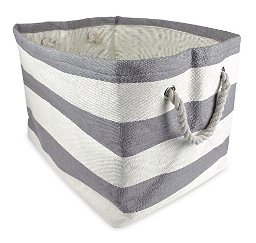 DII Woven Paper Bin Storage, Medium, Gray