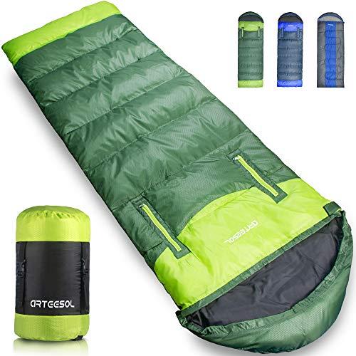 arteesol Schlafsack - 216 * 73cm Mumienschlafsack leicht Schlafsack für Outdoor Camping im Sommer Winter (Green, -15℃~15℃)