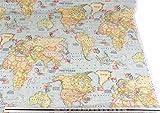 Mapa Del Mundo Algodón Azul Alta Calidad Fabric Material A4 Sample