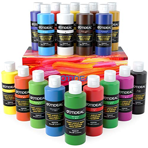 GOTIDEAL Acrylic Paint Set, 18 Colors/Tubes(100ml, 3.4 oz) Non Toxic Non Fading,Rich Pigments for Artist, Hobby Painters, Adults & Kids, Ideal for Canvas Wood Clay Fabric Ceramic Craft Oil Paint