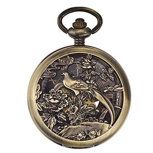 Reloj de Bolsillo, Esfera Hueca de urracas, Reloj mecánico automático, reutilización, Viejas Tablas de Pareja abatibles de Shanghai, Cadena de suéter Hueca Tallada.