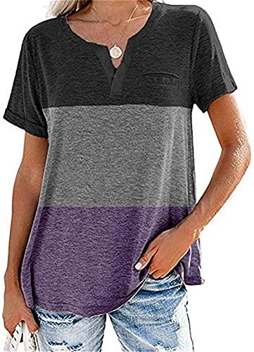 De Manga Corta Mujer Tops Mujer Verano Sexy con Cuello En V Moda Color Contrastante Tops Elegante Suelto Cómodo Casual Mujer Camiseta Mujer Blusa B-Purple XXL