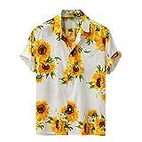 Camiseta de Manga Corta para Hombre,Camisa Casual Hawaiana de Botones Sueltos de Manga Corta de Verano Colorido para Hombre
