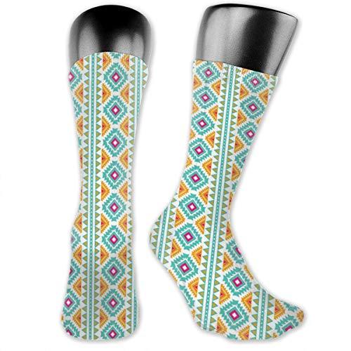 Compression Medium Calf Socks,Colorful Tribal Motif Abstract Vertical Geometric Pattern