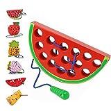 Sunshine smile FäDelspiel Wassermelone,FäDelspiel Holz,EinfäDeln Spielzeug,Montessori Spielzeug Holz,Threading-Spiele,Reise Spiel FrüHes,Motorikspielzeug,Montessori Spielzeug Ab 1 Jahr