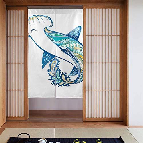 JISMUCI Vorhänge für Türen,Marine Hammer Head Shark Ocean Print,Türvorhang Für die Küche Wohnzimmer Schlafzimmer