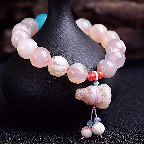 Gymqian Feng Shui Riqueza Pulsera de Cristal Natural Cherry Blossom Agate Gourd Hu Lu Wu Lou Amazonita Brazalete Brazalete Amuleto Atrae la Riqueza Exquisito