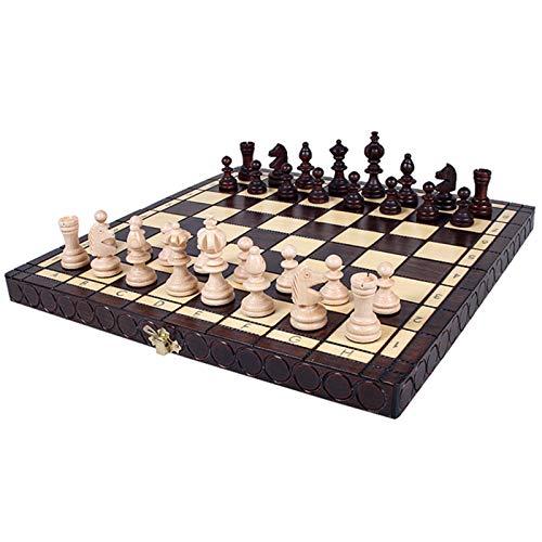 TYJKL Conjunto de ajedrez Chess Solid Wood Medium Plegable Tablero de ajedrez Introducción al ajedrez para los niños Adecuado para Jugar en casa (Color : Photo Color, Size : Medium)