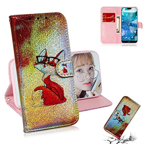 Shinyzone Custodia da Donna per Nokia 7.1(2018),Custodia a Portafoglio in Pelle PU, Magnetico Titolare della Carta Cover Tasca per Telefono Nokia 7.1(2018),Occhiali Volpe