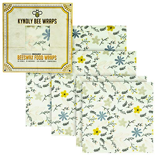 KYNDLY Beeswax Food Wrap, 4 Pack Eco-Friendly Reusable Wrappers. 100% Organic Cotton, Non Toxic, All Natural Food Grade Storage. Sustainable, Compostable and Biodegradable. 2xS 1xM 1xL (VINTAGE)