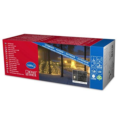 Konstsmide 4323-100 LED Lichternetz / für Außen (IP44) /  24V Außentrafo / 160 warm weiße Dioden / grünes Kabel
