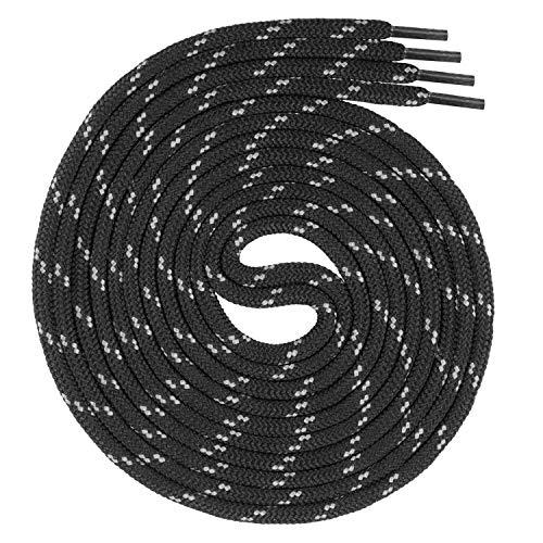 Swissly runde Schnürsenkel für Arbeitsschuhe und Trekkingschuhe aus 100% Polyester, Farbe: Black/Grey, Länge: 130cm