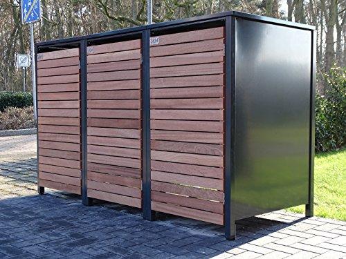3 Mülltonnenboxen für 240 Liter Mülltonnen in Edeldesign Anthrazit - Edelholz / witterungsbeständig durch Pulverbeschichtung / mit Klappdeckel und Fronttür aus Edelholz