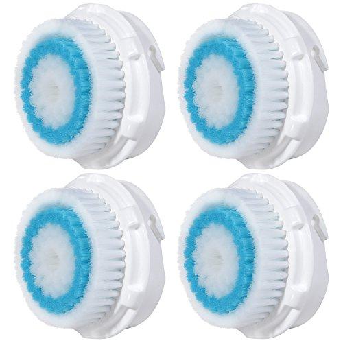 4 x cabezas de cepillo E-Cron®. Cabezal de cepillo compatible para la limpieza facial con poros profundos de Clarisonic (Deep Pore).