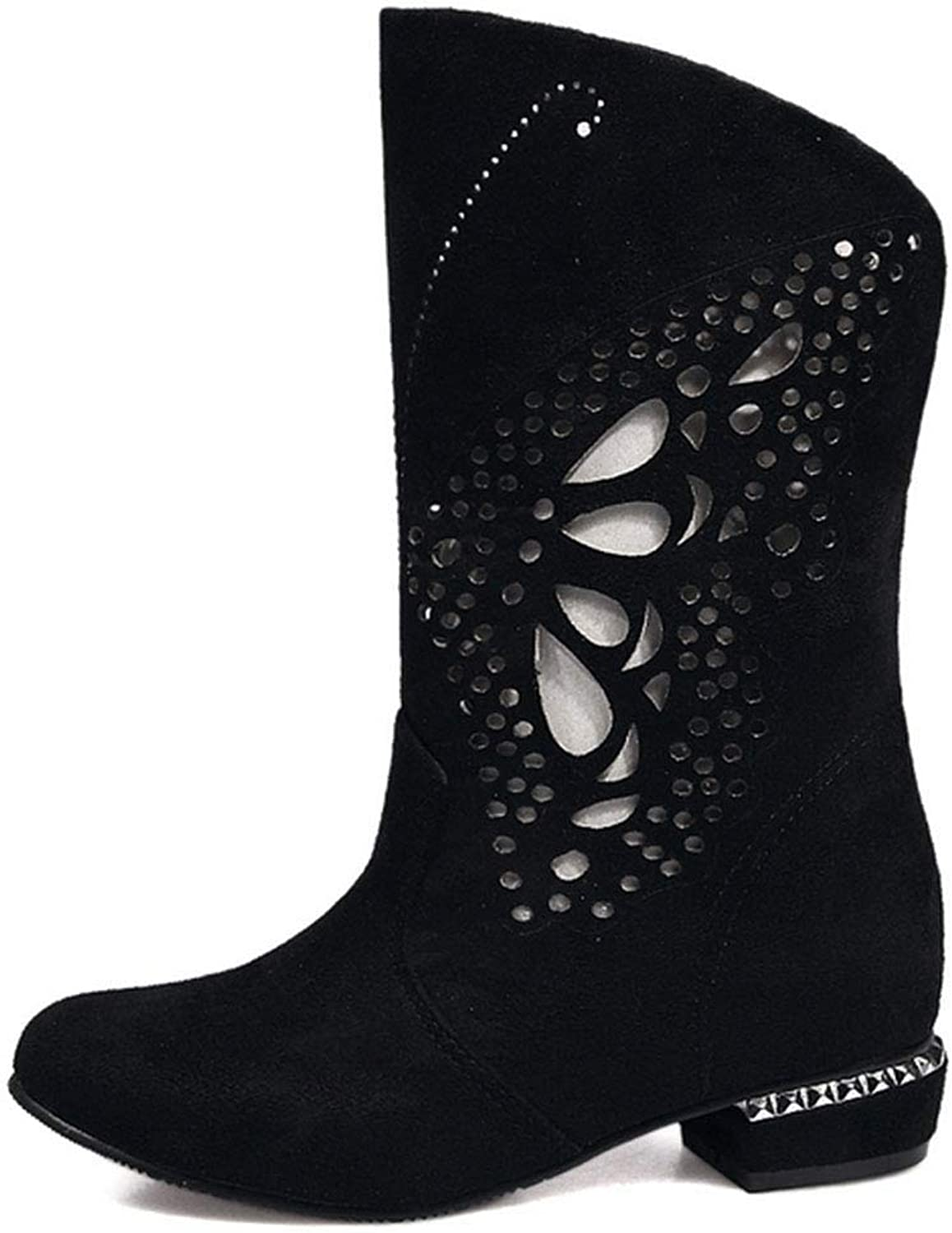 Women's Martin Boots Frosted Round Head Flat Low Heel Boots Hollow Butterfly Pattern Solid color Overshoes